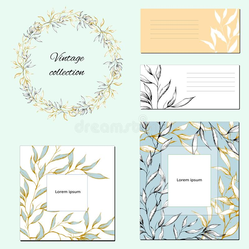 Templates for corporate identity with contour floral pattern. Natural ornament for modern design, ads, posters, advertisements royalty free illustration