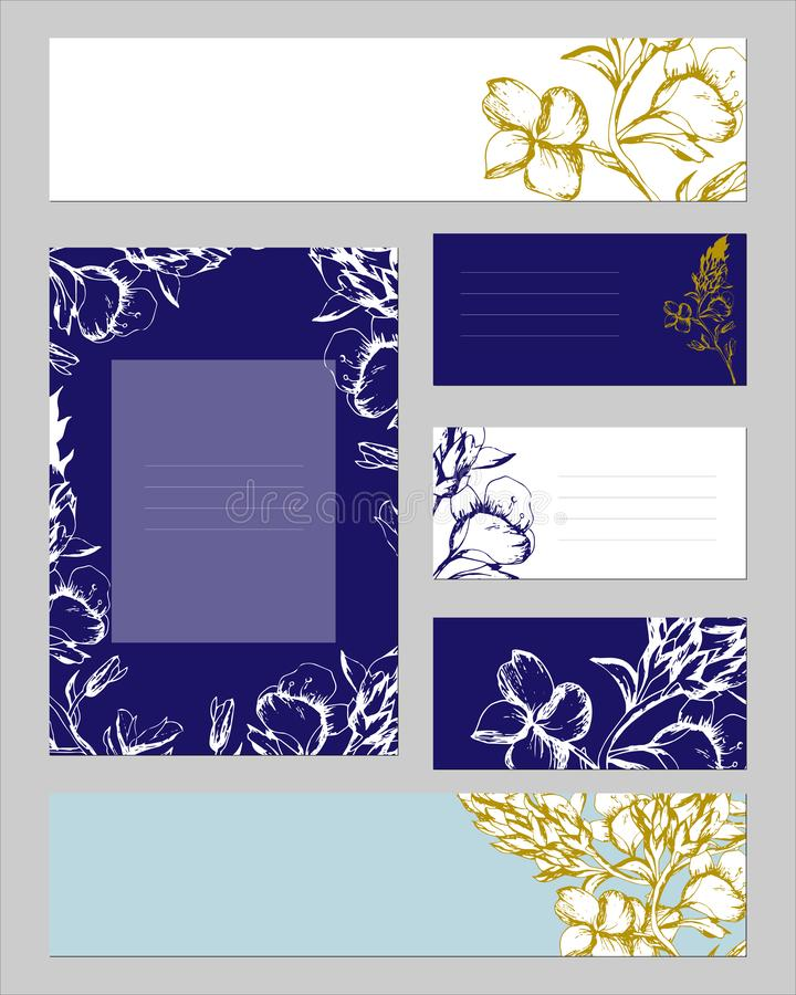 Templates for corporate identity with contour floral pattern. Text frames with gold and silver colors for corporate identity. Floral ornament for modern design stock illustration