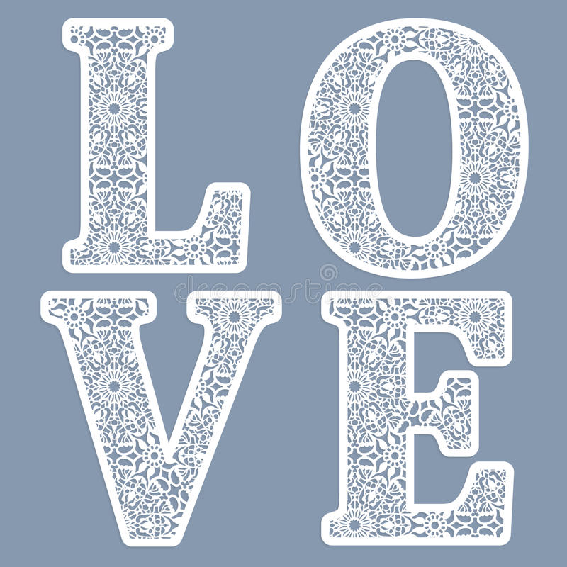 Templates for cutting out letters of the word 'love.' May be used for laser cutting. Fancy lace letters. stock illustration