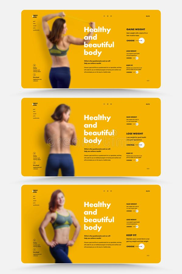 Templates of the first vector screens of the personal trainer and nutritionist web site with a choice of training and nutrition. Programs. Design with a photo vector illustration