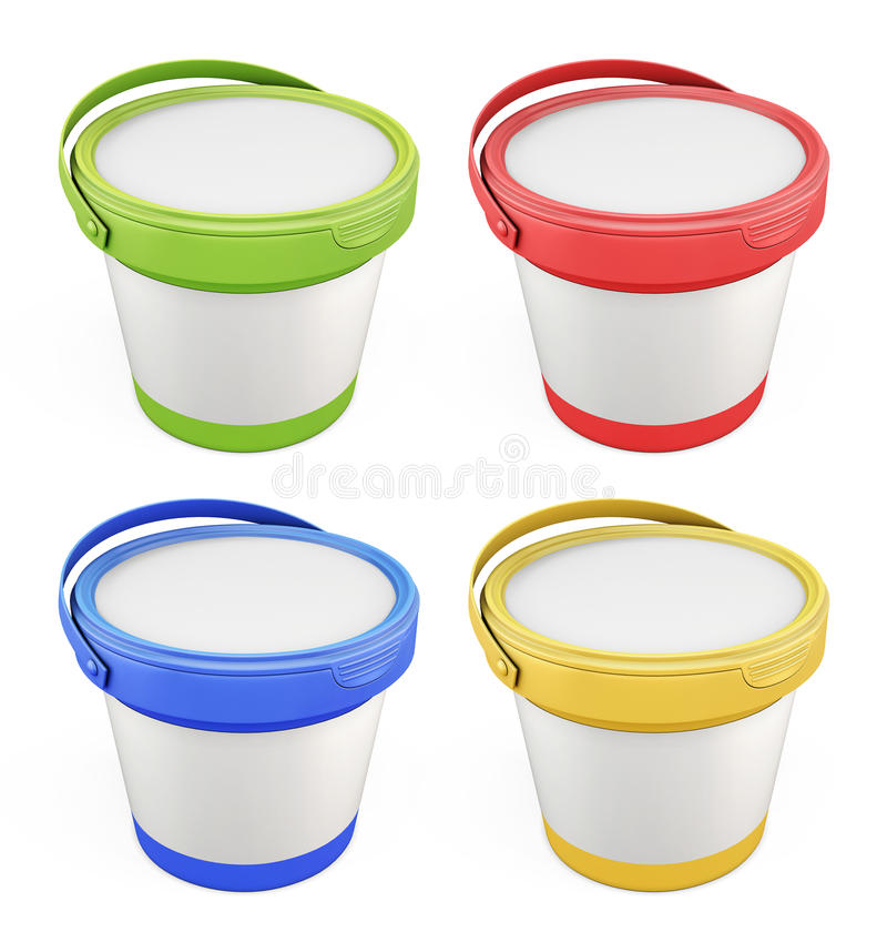 Free Templates For Putty Buckets With Lids Assorted Colors Stock Photo - 60442760