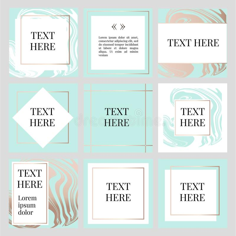 Templates Frame square fluide art Gold Fashion. Text, camera, social, media, photo, vector, button, concept, illustration, story, kit, pack, photography, modern vector illustration
