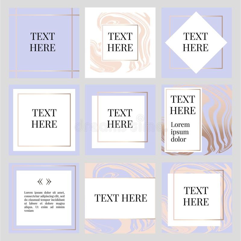 Templates Frame square fluide art Gold Fashion. Text, camera, social, media, photo, vector, button, concept, illustration, story, kit, pack, photography, modern royalty free illustration