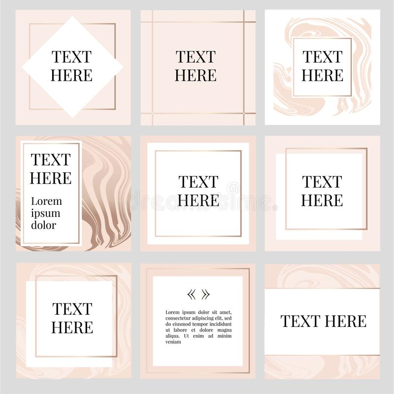 Templates Frame square fluide art Gold Fashion. Text, camera, social, media, photo, vector, button, concept, illustration, story, kit, pack, photography, modern stock illustration
