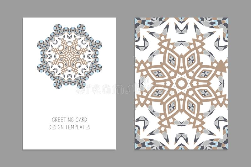 Templates for greeting and business cards, brochures, covers with floral motifs. Oriental pattern. royalty free illustration
