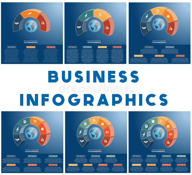 Free Templates Infographics Business Concept Coloured Parts Semicircle And Globe, Numbered For 3,4,5,6,7,8, Positions Royalty Free Stock Photos - 134848808