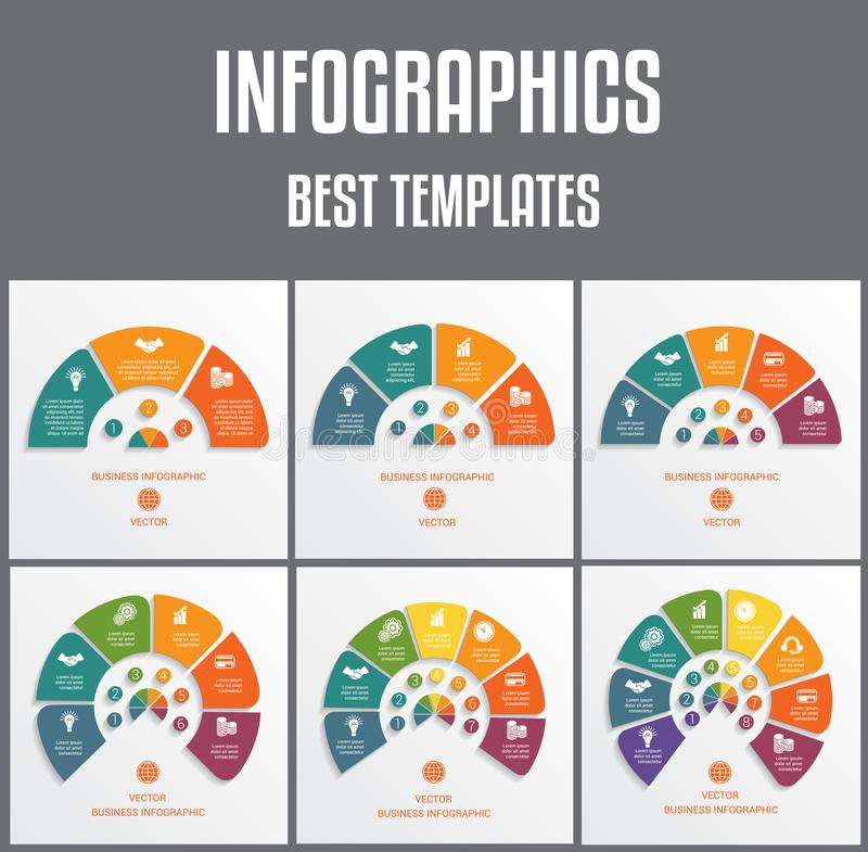 Templates infographics numbered for 3,4,5,6,7,8 options. Colorful semicircles. Vector illustrations can be used as chart, diagram. Templates infographics royalty free illustration