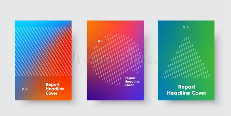 Templates for minimalistic vector cover with a gradient on the background and a circle, a triangle and a rectangle of diagonal vector illustration