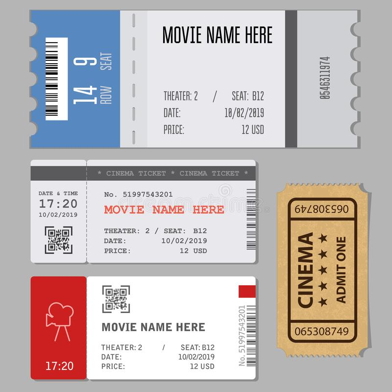 Templates of modern tickets for cinema or concert entrance vector illustration