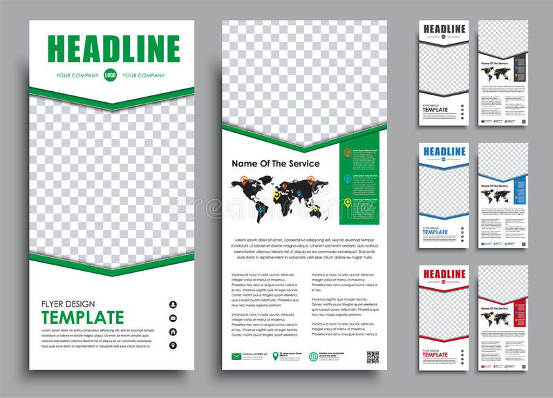 Templates 2 pages in 4 color versions with a place for a photo. Design White narrow flyers. Templates 2 pages in 4 color versions with a place for a photo vector illustration