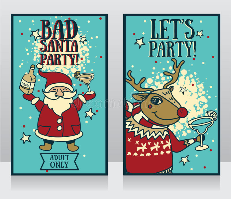 Templates for party banner, cartoon santa and christmas deer with tequila and margarita in their hands. Two templates for party banner, cartoon santa and vector illustration