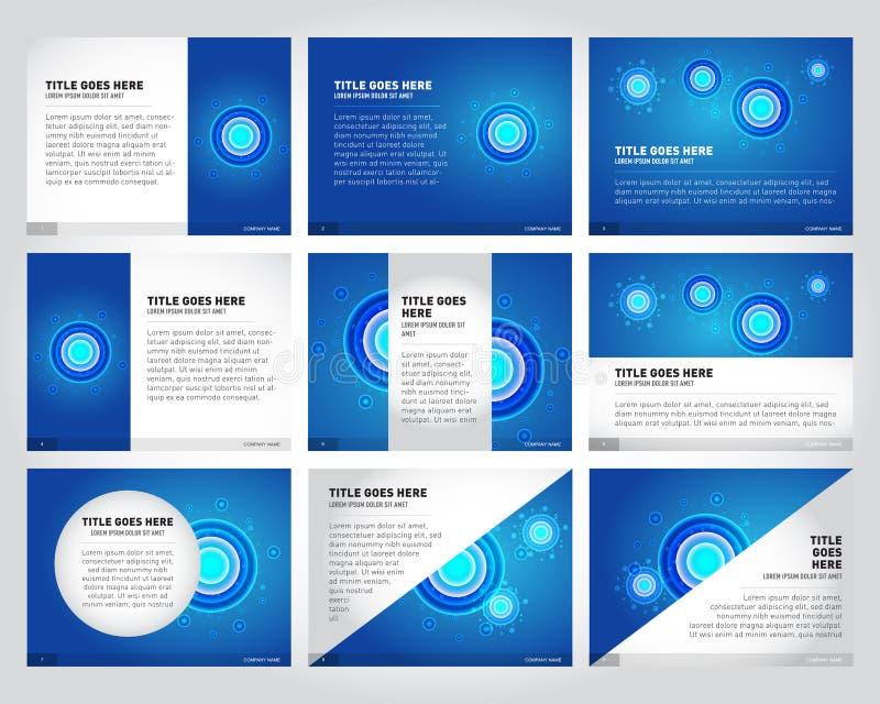 9 Templates for presentation slides, set. Graphic design of molecule structure, blue scientific background. royalty free illustration