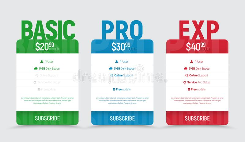 Templates of price tables for web sites stock illustration