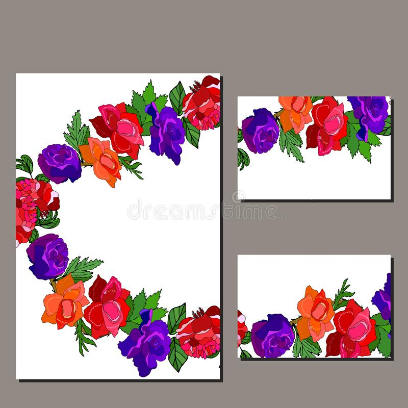 Floral set of templates for your design, greeting cards, festive announcements, posters. Templates with red and blue roses. Template for your design, greeting vector illustration