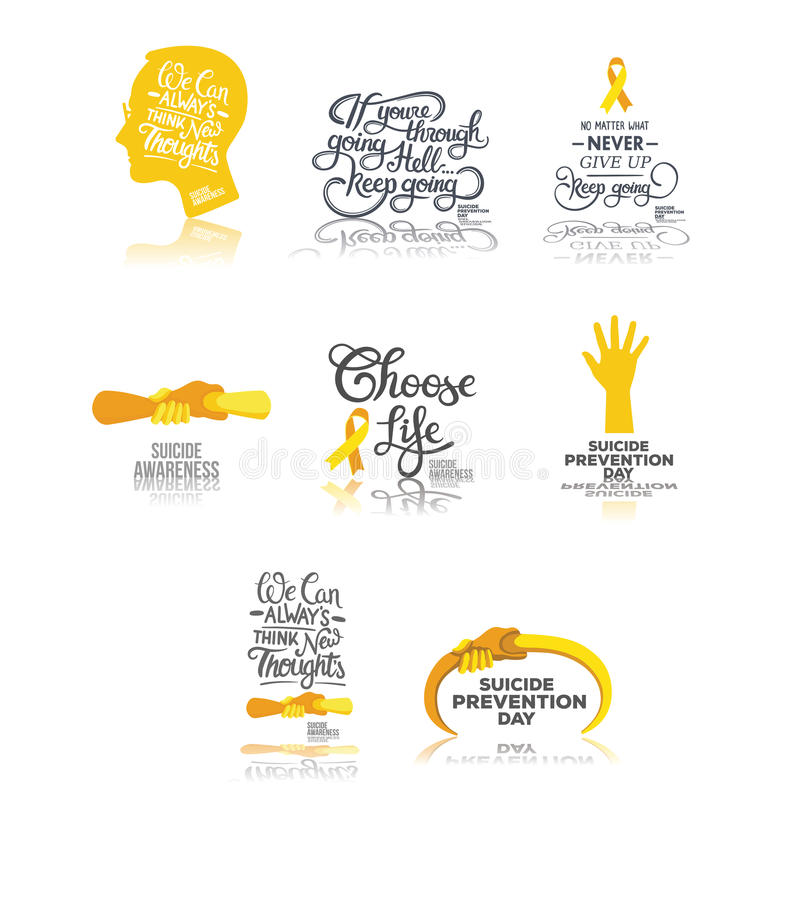 Templates related to prevention and management of suicide and depression. Vector of templates related to prevention and management of suicide and depression stock illustration
