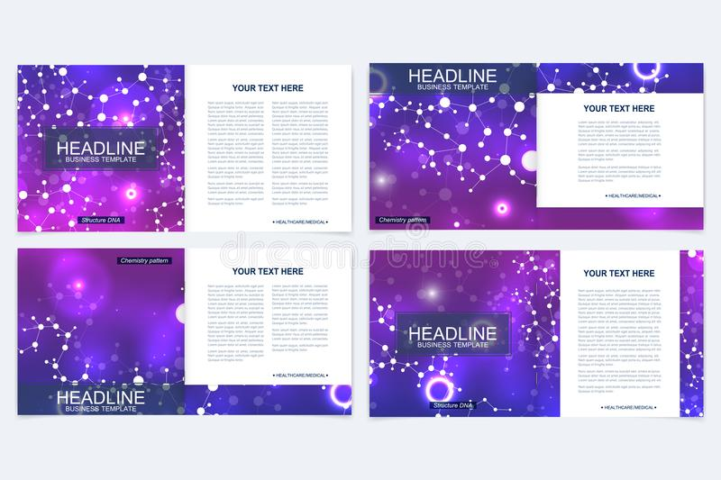 Templates for square brochure. Leaflet cover presentation. Business, science, technology design book layout. Scientific. Molecule background stock illustration