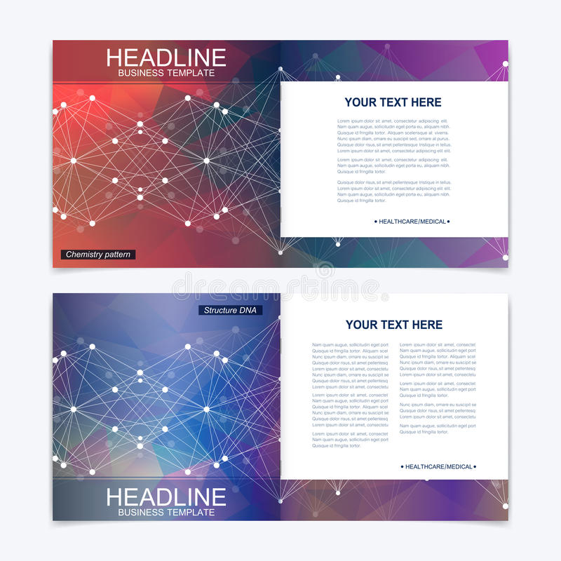 Templates for square brochure. Leaflet cover presentation. Business, science, technology design book layout. Scientific. Molecule background royalty free illustration