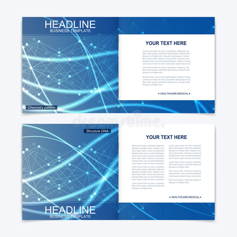Templates for square brochure. Leaflet cover presentation. Business, science, technology design book layout. Scientific. Molecule background vector illustration