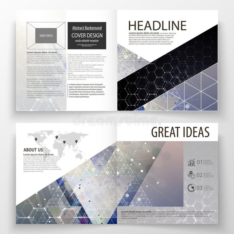 Templates for square design bi fold brochure, magazine, flyer. Leaflet cover, easy editable vector layout. Chemistry pattern, hexagonal molecule structure vector illustration