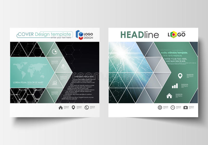 Templates for square design brochure, magazine, flyer, report. Leaflet cover, easy editable vector layout. Chemistry pattern, hexagonal molecule structure stock illustration