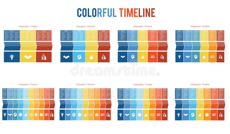 Templates for Timeline Infographic colorful arrows numbered for 3,4,5,6,7,8,9,10 positions. Templates for Timeline Infographic colorful arrows numbered for royalty free illustration