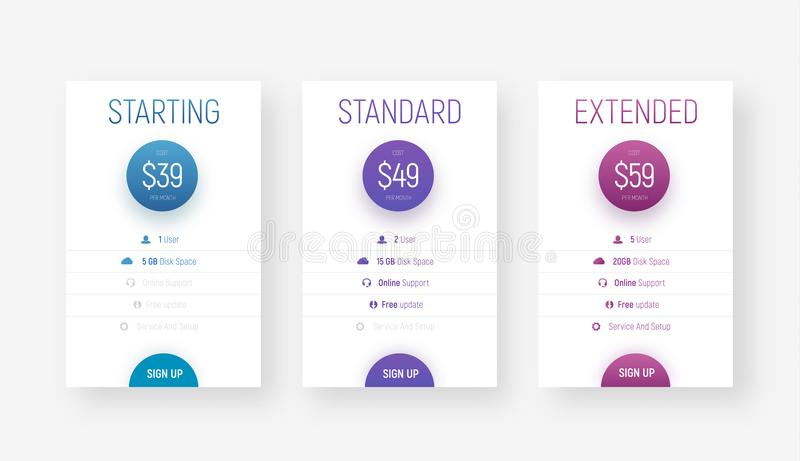 Templates of vector price tables for web sites in a minimalist m royalty free illustration