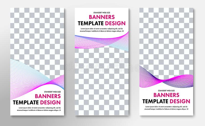 Templates for vertical vector web banners with place for photo and abstract swirling lines royalty free illustration