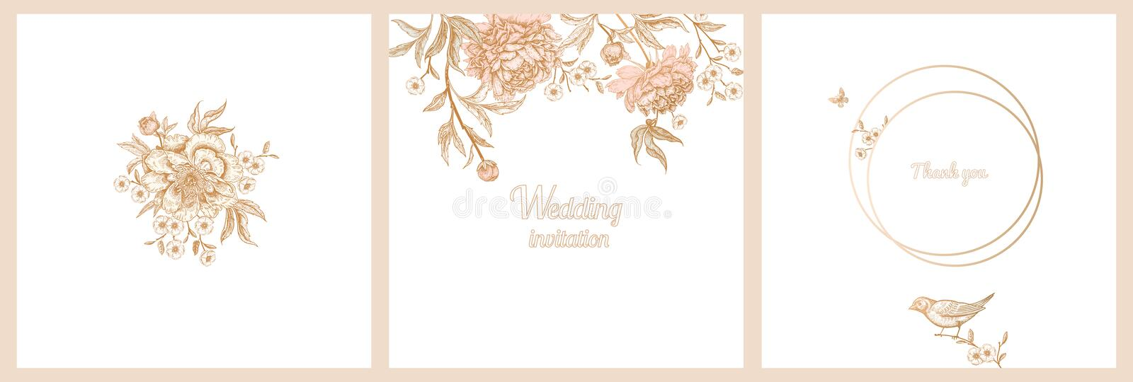 Vintage greeting card with birds and flowers set. vector illustration