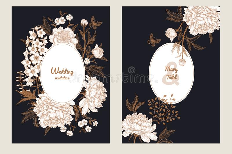 Vintage greeting card with butterfly and flowers set. vector illustration