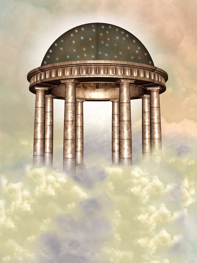 Temple. Fantasy temple in the sky stock illustration