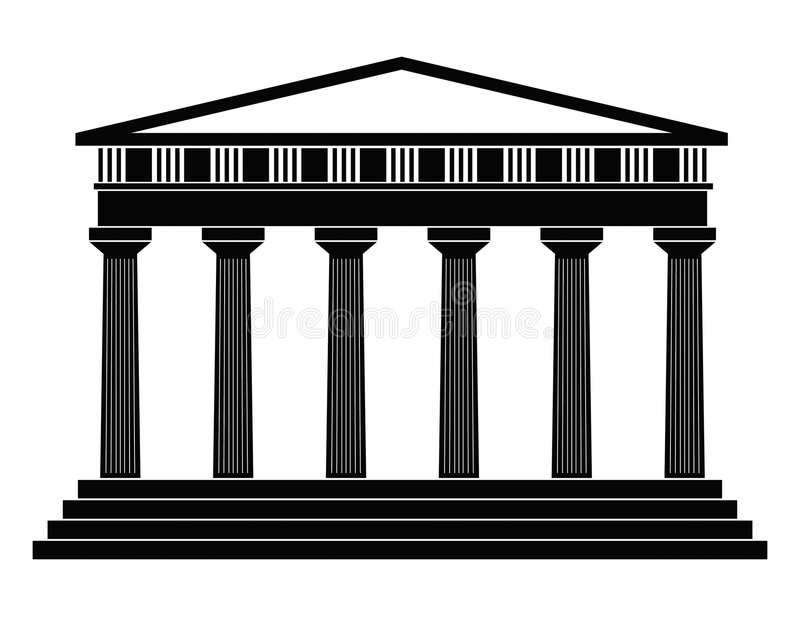 Temple. Detailed outline depicting ancient greek temple on a white background royalty free illustration