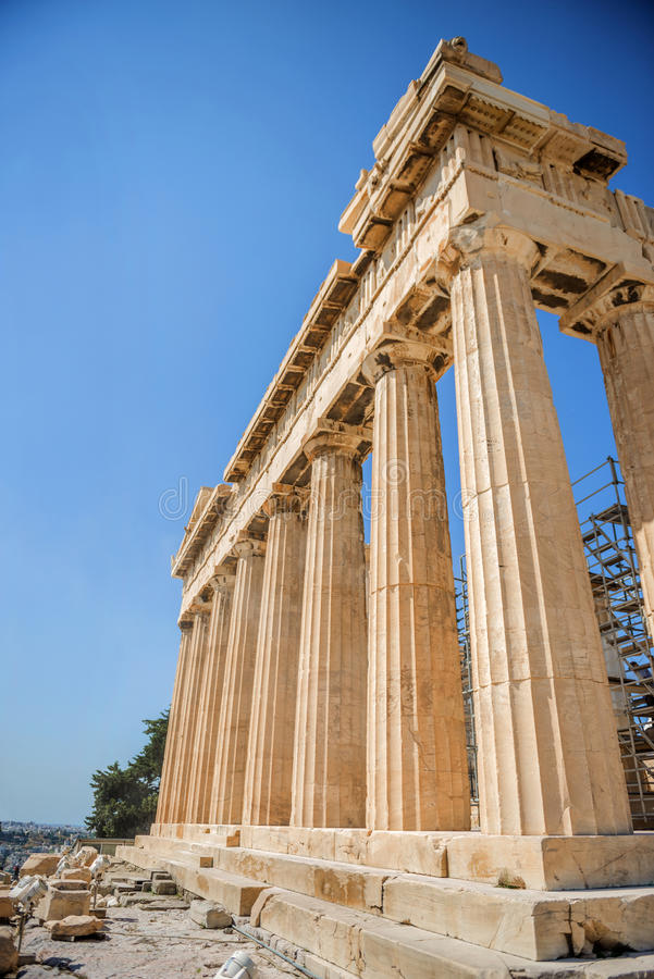 Temple in the Acropolis, Athens, Greece stock images