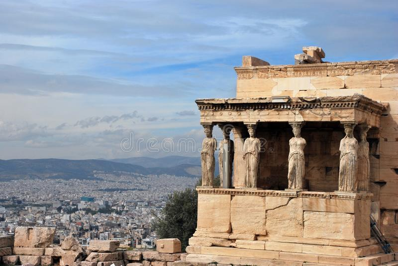 Temple in  the Acropolis  of Athens in  Greece. View of the Erechtheon a Temple in the Acropolis of Athens in Greece royalty free stock photography