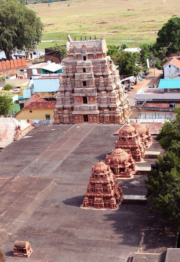 Temple aeriel view. Aeriel view of hindu temple at tirumayam, tamilnadu india stock photo
