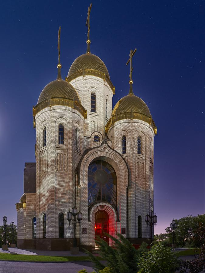 The Temple of All Saints in the light of the full moon. royalty free stock photography