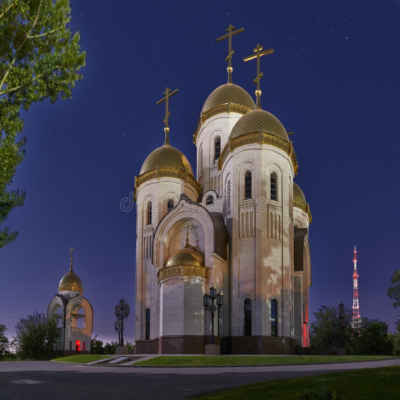The Temple of All Saints in the light of the full moon. stock image