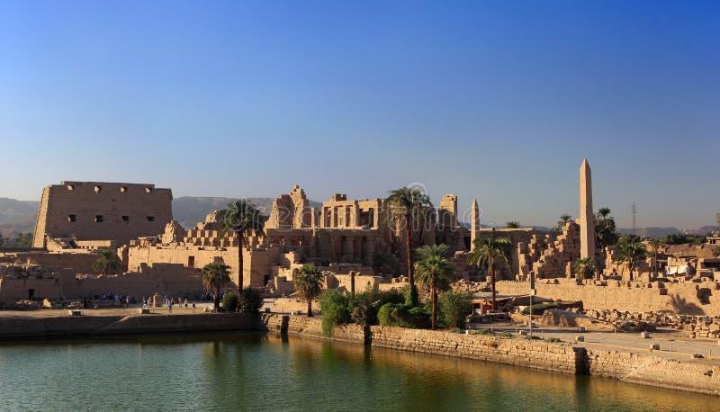 Temple of Amun at Karnak. Egypt. Karnak Temple Complex - the Sacred Lake of Precinct of Amun-Re stock photo