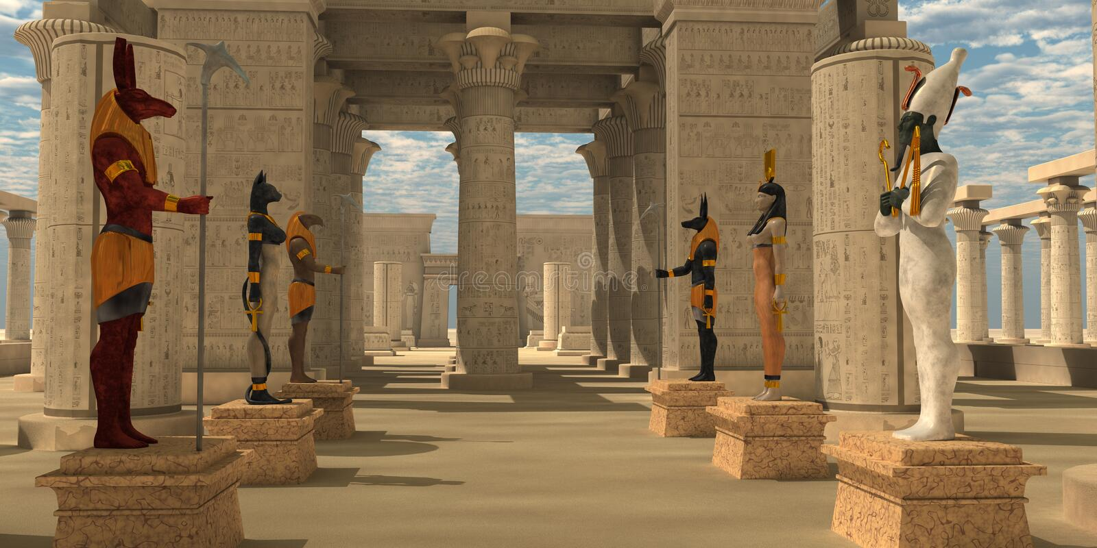 Temple of Ancient Pharaohs. A pharaoh's temple to worship Egyptian gods Seth, Ra, Anubis, Hathor, Osiris, and Bast stock illustration