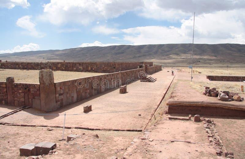 Temple antique de Kalasasaya dans la région de Tiwanaku, Bolivie image libre de droits