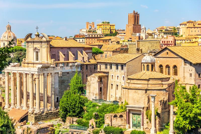The Temple of Antoninus and Faustina, the Church of the Third Order Regular of St. Francis of Penance and the Temple of Romulus royalty free stock images