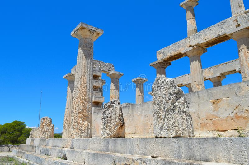 The Temple of Aphaia in Aegina, Greece on June 19, 2017. AEGINA, GREECE - JUNE 19: The Temple of Aphaia in Aegina, Greece on June 19, 2017 royalty free stock image