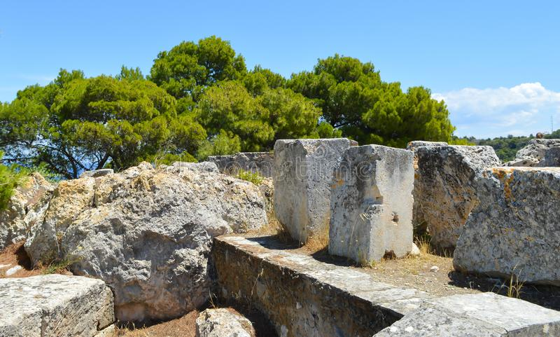 The Temple of Aphaia in Aegina, Greece on June 19, 2017. AEGINA, GREECE - JUNE 19: The Temple of Aphaia in Aegina, Greece on June 19, 2017 royalty free stock images