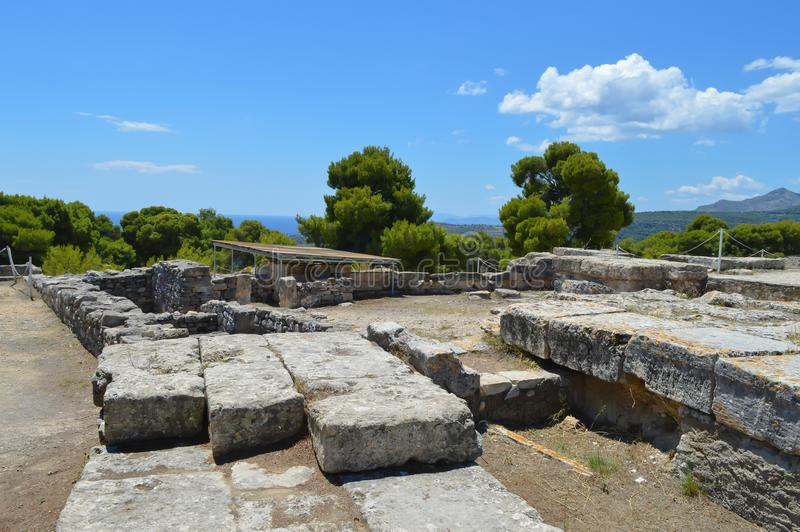 The Temple of Aphaia in Aegina, Greece on June 19, 2017. AEGINA, GREECE - JUNE 19: The Temple of Aphaia in Aegina, Greece on June 19, 2017 royalty free stock photo