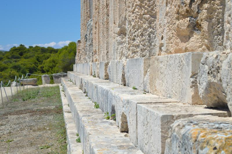 The Temple of Aphaia in Aegina, Greece on June 19, 2017. AEGINA, GREECE - JUNE 19: The Temple of Aphaia in Aegina, Greece on June 19, 2017 stock photo