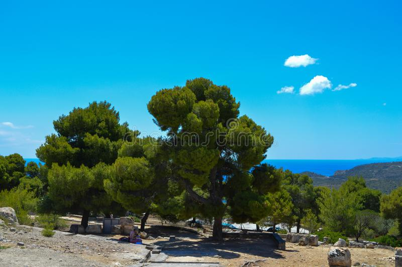 The Temple of Aphaia in Aegina, Greece on June 19, 2017. AEGINA, GREECE - JUNE 19: The Temple of Aphaia in Aegina, Greece on June 19, 2017 royalty free stock photography