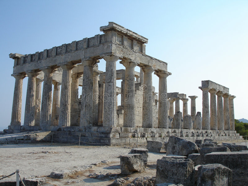 Temple of Aphaia front right view stock photo