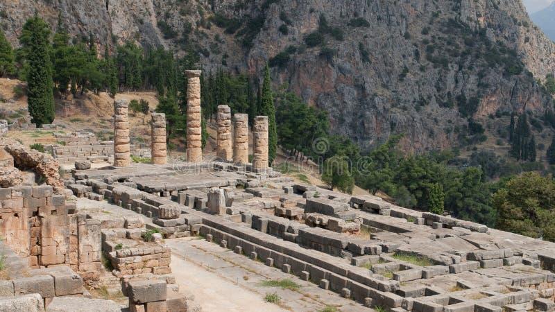 Temple of Apollo. Ruins of Temple of Apollo in Delphi, Greece royalty free stock photos