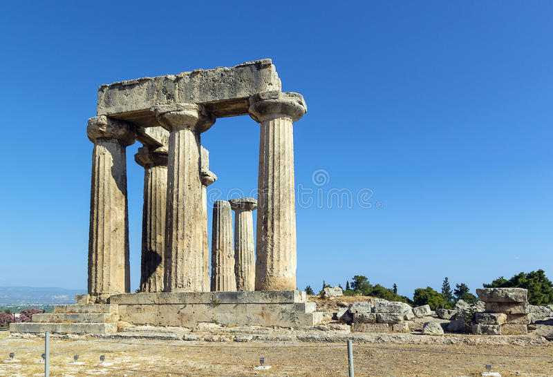 Temple of Apollo in ancient Corinth, Greece. The ruins of the Temple of Apollo in ancient Corinth, Greece royalty free stock image
