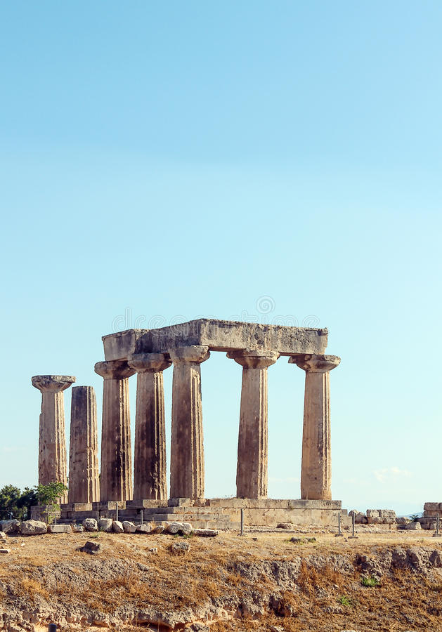 Temple Of Apollo In Ancient Corinth, Greece Stock Images