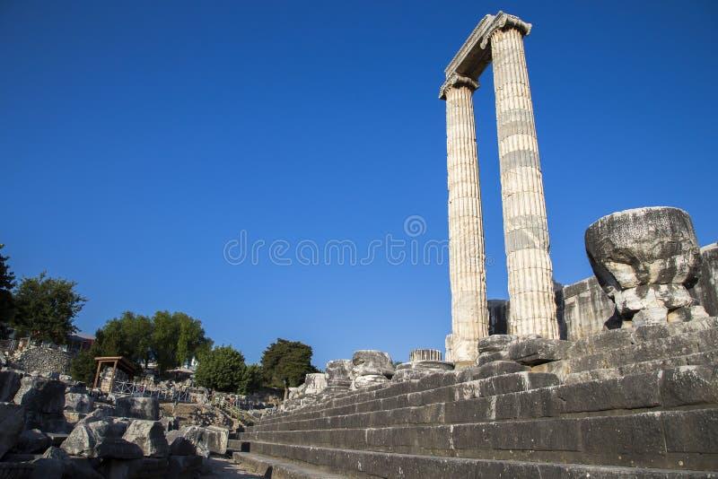 Temple of Apollo in Didyma antique city Didim Turkey 2014 stock photos